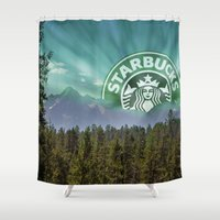 starbucks Shower Curtains featuring Starbucks Is Life by Tumblweave