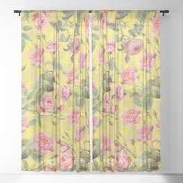 Vintage & Shabby Chic - Summer Yellow Roses Garden Sheer Curtain
