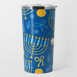 Hanukkah Menorah Pattern Travel Mug