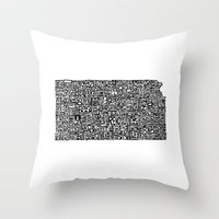 kansas Throw Pillows featuring Typographic Kansas by CAPow!
