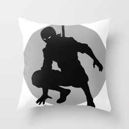 Ninja Shadow Sillhouette With Circle Throw Pillow