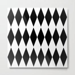 LARGE  WHITE AND BLACK   HARLEQUIN DIAMOND PATTERN Metal Print