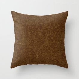 Clockwork Retro / Cogs and clockwork parts lineart pattern in brown and gold Throw Pillow