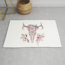 Deer skull with feathers and flowers Rug