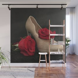 Glitter Gold Stiletto and Two Red Roses Wall Mural