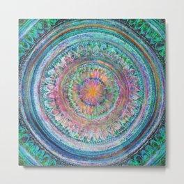 Pink and Turquoise Mandala Metal Print