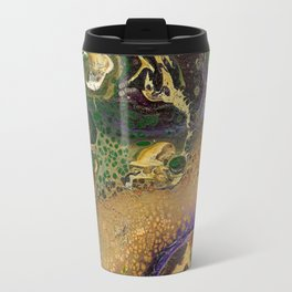Fluid Gold XII - Abstract, textured, fluid, acrylic painting Travel Mug