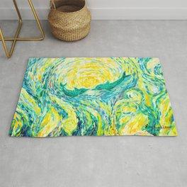 Dolphins - original impressionistic oil painting Rug