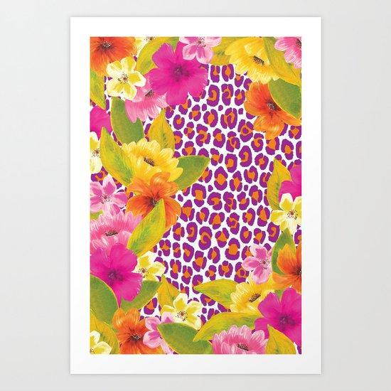 Floral Leopard  Art Print