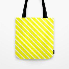 Neon Yellow Diagonal Stripes Tote Bag