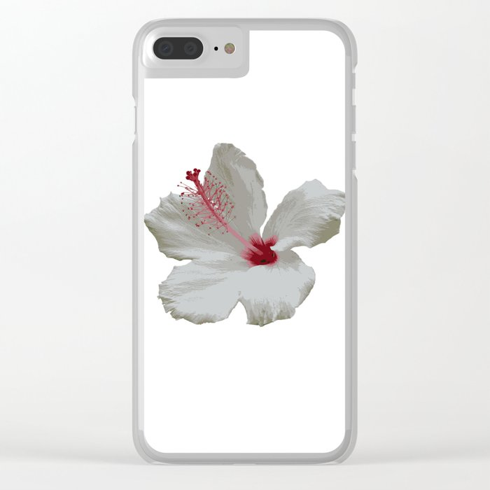 Pure White Hibiscus Tropical Flower Clear iPhone Case