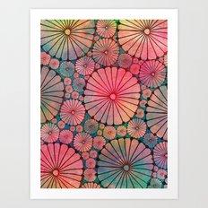 Abstract Floral Circles Art Print