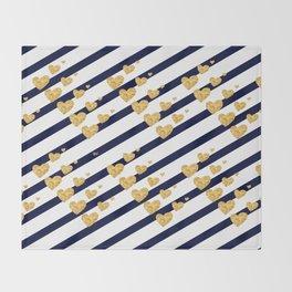 Holiday Hearts Blue and Gold #xmas #christmas #minimal #love #design Throw Blanket