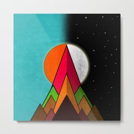 Mountain Day and Night Metal Print