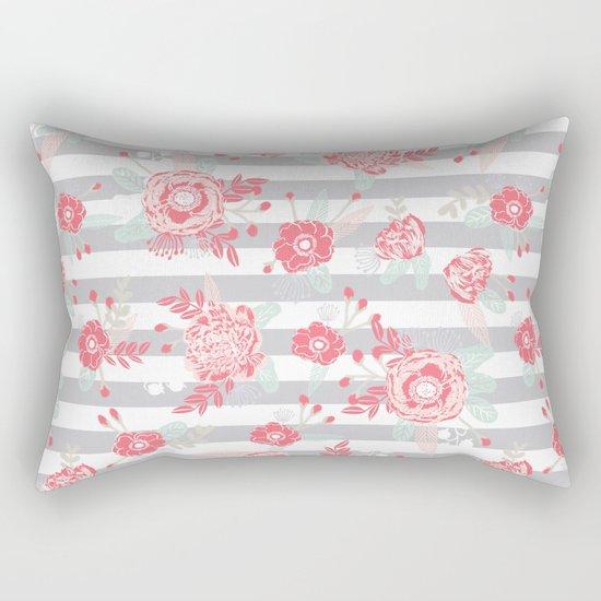 Elli - gender neutral florals grey stripe pattern modern nursery home decor Rectangular Pillow
