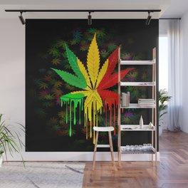 Marijuana Leaf Rasta Colors Dripping Paint Wall Mural