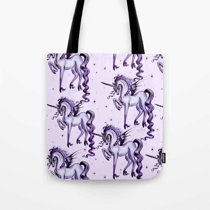 Unicorn with Bat Wings Tote Bag