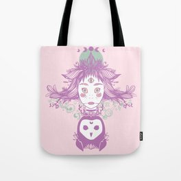 Witch, Third Eye, Moon Phases, And Owl Tote Bag