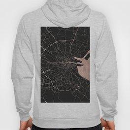 Black on Rosegold Dublin Street Map Hoody