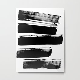 Stripes Black & White Minimalist Abstract Mid century Ink Art Dark Brush Strokes Metal Print