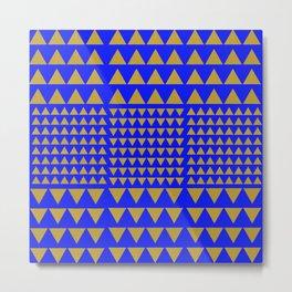Golden triangles Blue Metal Print