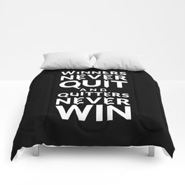 Winners Never Quit - Vince Lombardi quote Comforters