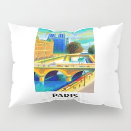 1957 Paris Notre Dame Cathedral French Travel Poster Pillow Sham