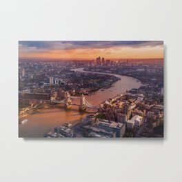 Sunset over London Cityscape (Color) Metal Print