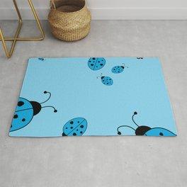 Ladybugs-Blue Rug
