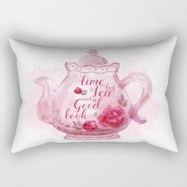 Time for tea and a good book Rectangular Pillow