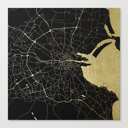 Dublin Ireland Black on Gold Street Map Canvas Print