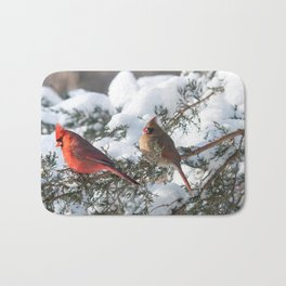 Sunny Winter Cardinals in the Adirondacks Bath Mat