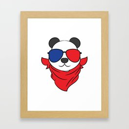 A Cool Panda Tee With A Nice Illustration Of A Cool Panda With A Scarf On And Sunglasses T-shirt  Framed Art Print