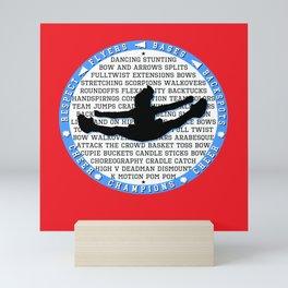 cheer blue on red Mini Art Print