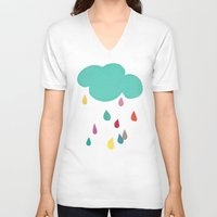 sunshine V-neck T-shirts featuring Sunshine and Showers by Cassia Beck