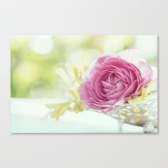 Princess like - Lightpink flower sparkling in silver bowl Still-life on #Society6 Canvas Print