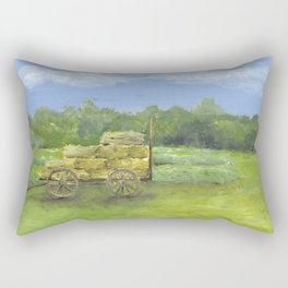 Hay Wagon in a Farm Field, Country Landscape Art Rectangular Pillow