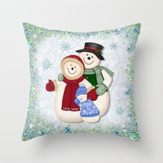Snowman and Family Glittered Throw Pillow