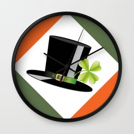 Hat with shamrock Wall Clock