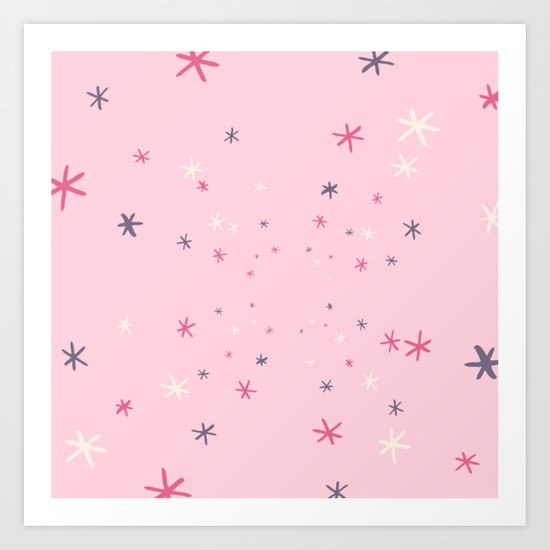 Pink Decorative Design with Stars to Infinity Art Print
