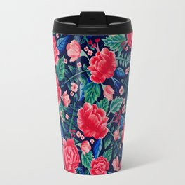 Red Roses with Green & Blue Leaves - Floral Pattern Travel Mug