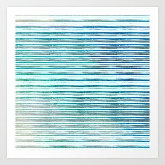 fine aqua handpainted stripes on clear white Art Print