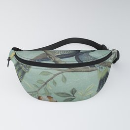 A Teal of Two Birds Chinoiserie Fanny Pack