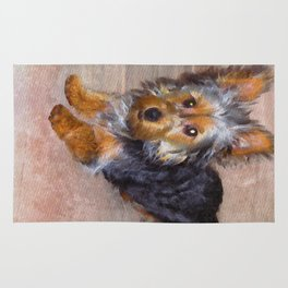Silky Terrier Puppy - rendered as watercolor Rug