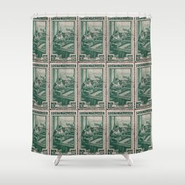 Woman at work, Italian vintage post stamp Shower Curtain