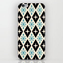 Mid Century Modern Atomic Triangle Pattern 922 Black and Blue iPhone Skin