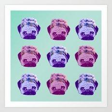 crowned pug pattern Art Print