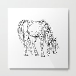 Little Line Horse Metal Print