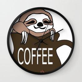 Coffee Sloth Wall Clock