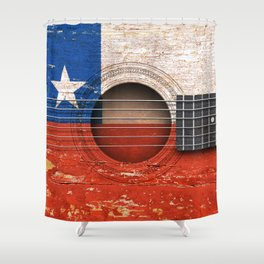 Old Vintage Acoustic Guitar with Chilean Flag Shower Curtain
